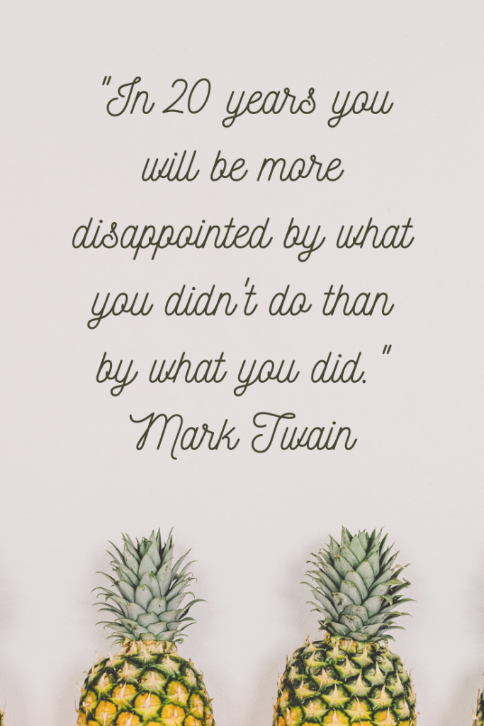 """In 20 years you will be more disappointed by what you didn't do than by what you did."" Mark Twain"