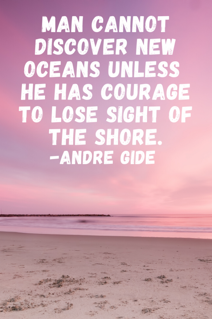 """Man cannot discover new oceans unless he has courage to lose sight of the shore.""  Andre Gide"