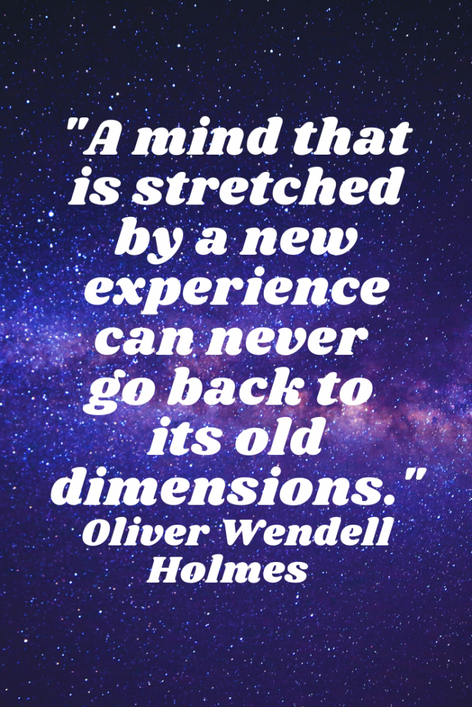 """""""A mind that is stretched by a new experience can never go back to its old dimensions."""" Oliver Wendell Holmes"""