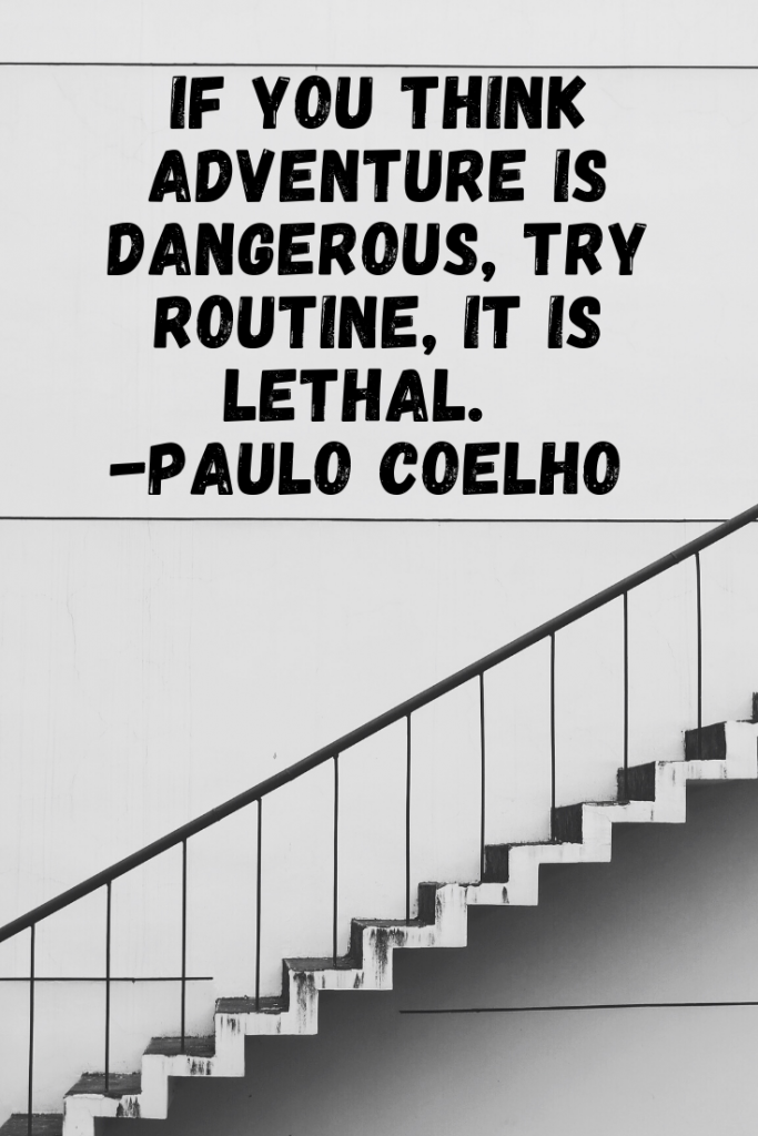 """If you think adventure is dangerous, try routine, it is lethal."" Paulo Coelho"