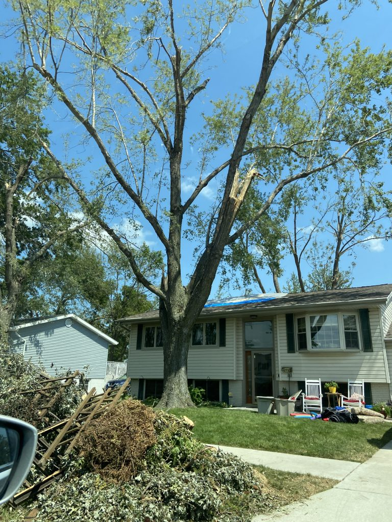 Many houses were damaged during the derecho.
