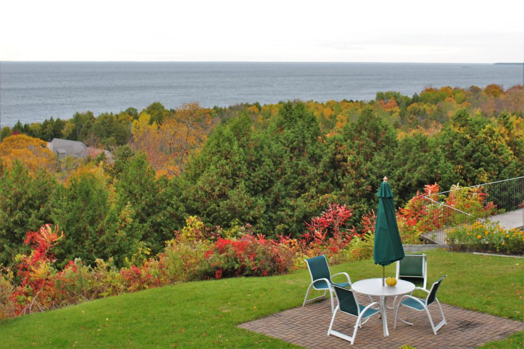 View of Green Bay and autumn colors from our balcony at Egg Harbor Lodge.