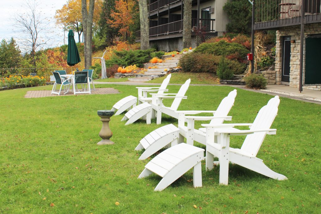 Chairs to use while enjoying the views at Egg Harbor Lodge.