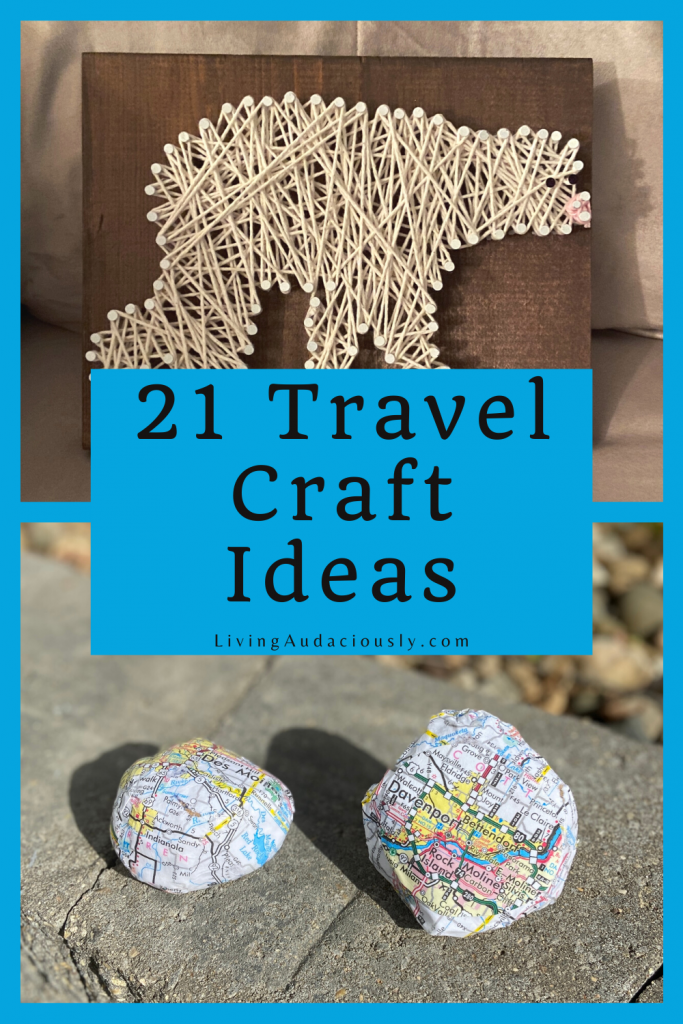 These 21 DIY travel crafts are unique ideas to let someone know you're thinking about them, or a great way to decorate your home or office.  Homemade Christmas gifts anyone? #travelgifts #travelcrafts #craftsforkids #craftideas #diytravel #diy