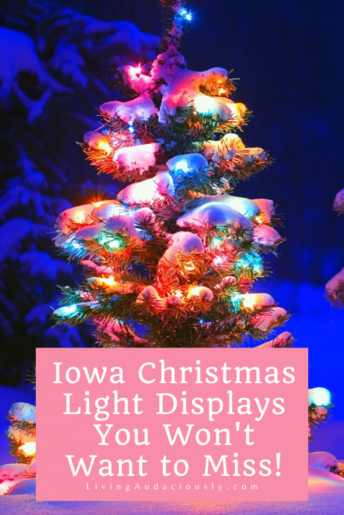 Your guide to finding some of the best Iowa Christmas lights! From parks to houses and even downtown areas, there's plenty sparkle around! #christmaslights #iowa #iowalights #drivethroughlightshows