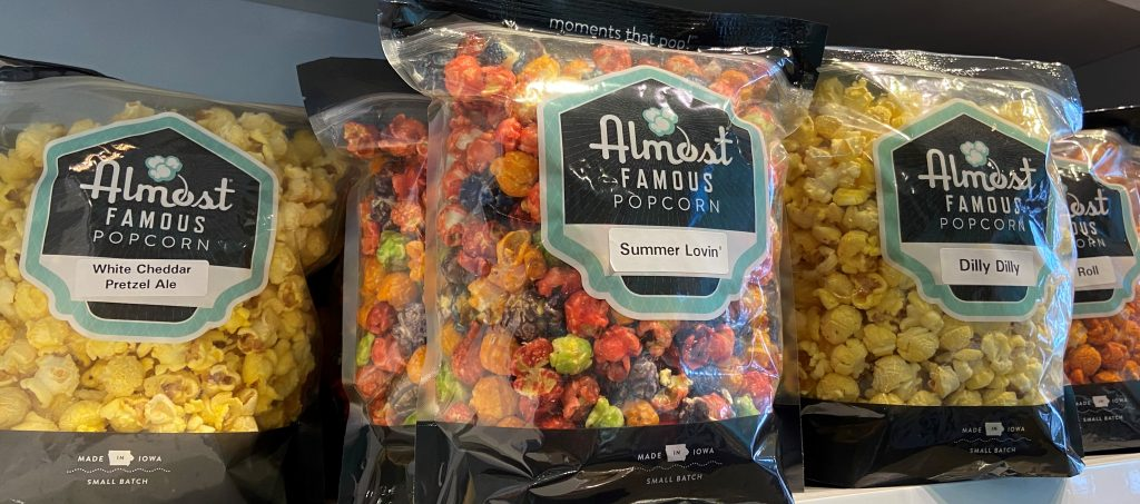 Visit Almost Famous in Cedar Rapids for popcorn and ice cream